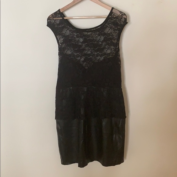 Dresses & Skirts - Leather and lace black dress